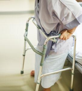 walker in hospital after knee surgery